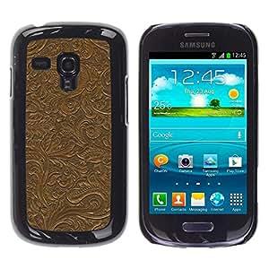 Caucho caso de Shell duro de la cubierta de accesorios de protección BY RAYDREAMMM - Samsung Galaxy S3 MINI NOT REGULAR! I8190 I8190N - Pattern Wall Design Plants Leaves Brown