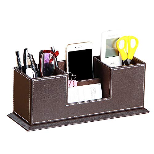 YAPISHI Office Pencil Holder, PU Leather Desk Supply Organizer Caddy for Pens/Business Card/Remote Control/Phone/Stationery Collections, 4 Compartments Wooden Structure Desktop Storage Box (Brown)