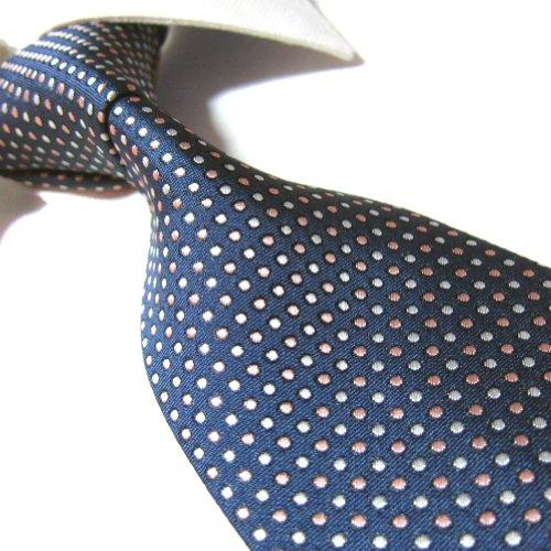 Extra Long Fashion Tie Navy/Dots Men's Woven Jacquard Handmade Necktie