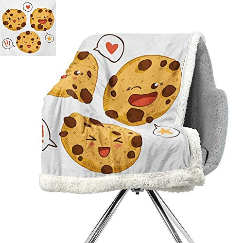 ScottDecor Kawaii Blanket Small Quilt,Three Chocolate Chip Cookies with Different Expressions Japanese Inspirations,Brown Pale Brown,Digital Printing Blanket W59xL47 ()