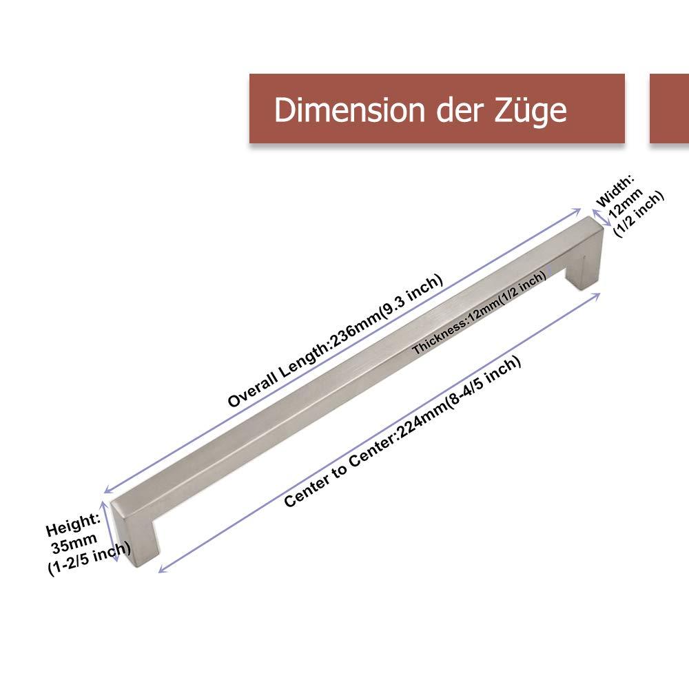 cocina caj/ón para armario ancho del tubo 12/mm x 12/mm Tirador Goldenwarm/® de acero inoxidable cepillado