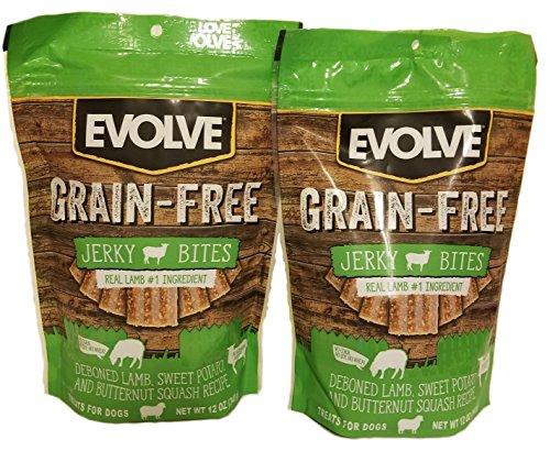Evolve GrainFree Dog Treats: Deboned Lamb, Sweet Potato, and Butternut Squash, 2 (12 Ounce Pack) Bundle