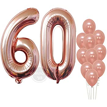 60th Birthday Decorations Party Supplies Balloons Rose Gold Hang Happy