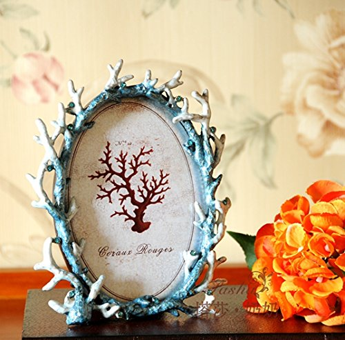 Sproud Mediterranean Coral Star Sea Shell Gem Inlaid Alloy Picture Frame,A