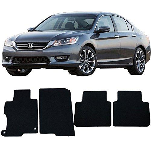 (Floor Mat Fits 2013-2017 Honda Accord | Factory Fitment Floor Mats Carpet Front & Rear Black 4PC Nylon by IKON MOTORSPORTS | 2014 2015 2016)