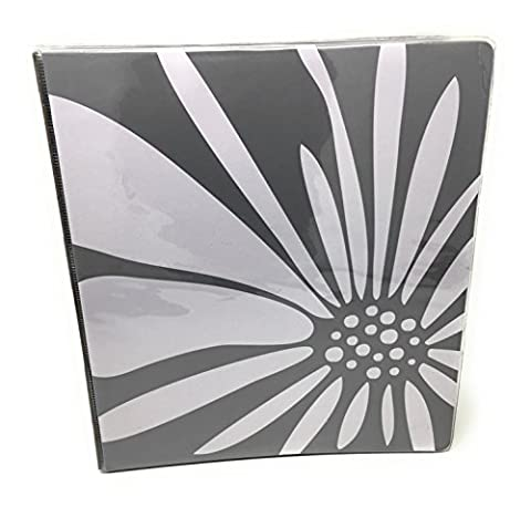 Divorga 1 Inch 3 Ring School Fashion Binder (Grey Flower) (Binders 3 Ring Fashion)