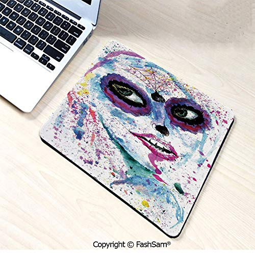 Desk Mat Mouse Pad Grunge Halloween Lady with Sugar Skull Make Up Creepy Dead Face Gothic Woman Artsy for Office(W7.8xL9.45) -