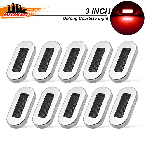 Meerkatt (Pack of 10) 3 Inch Oblong Smoked Lens Red LED Sealed Flush Mount Courtesy Light with Chrome Stainless Bezel Universal Truck SUV Boat Trailer Pontoon Marine Camper Jeep 12V DC Waterproof UV12