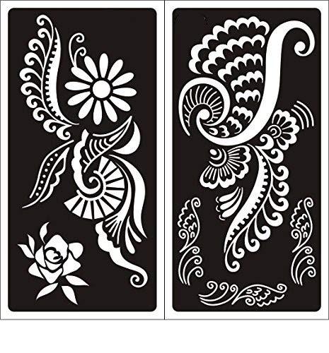 Henna Tatuaje Stencils 2 Hojas Plantillas de Mehndi tatuaje de ...
