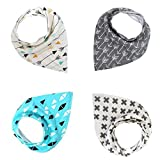 YUyuIII Baby Bandana Drool Bibs For Boys & Girls, Pure & Absorbent & Organic Cotton Burp Cloths, Set of 4, 4 Kinds of Patterns