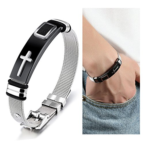 Suyi Stylish Men's Adjustable Bracelet Cross Stainless Steel Mesh Chain Wrist Band Bracelet (Stylish Stainless Steel Bracelet)