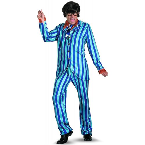 Disguise Austin Powers Carnaby Suit Deluxe 50-52 Costume, Blue/Red, XX-Large/50-52