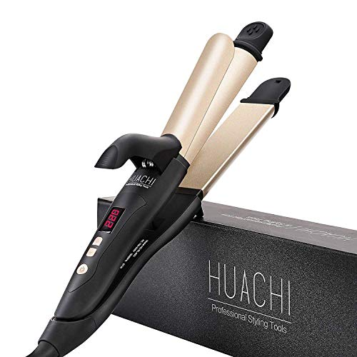 2 in 1 Hair Straighteners and Curling Irons 1 1/4 Inch Beach Waves, Professional Ceramic Travel Flat Iron Hair Curlers Combo, Dual Voltage 100-220v Instant Heat for Long Short Hair, 32mm