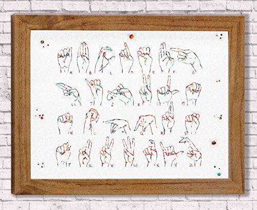(Sign Language Watercolor Art Prints Sign Language Hand Wall Decor Artworks Wall Art Dining Room Manual Alphabet Art Wall Hanging Decor House Warming Gift ...)