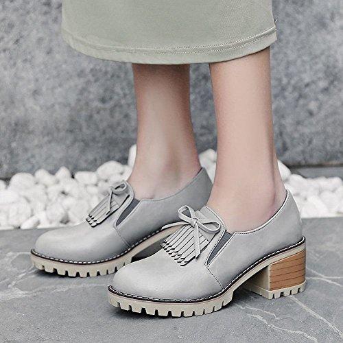 Mee Shoes Damen Blockabsatz Quasten Slip On Pumps Grau