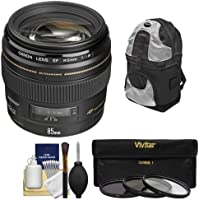Canon EF 85mm f/1.8 USM Lens with Backpack + 3 UV/CPL/ND8 Filters + Kit for EOS 6D, 70D, 5D Mark II III, Rebel T3, T3i, T4i, T5, T5i, SL1 DSLR Cameras