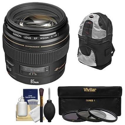 Canon EF 85 mm f/1,8 USM lente + filtro UV + Kit de accesorios