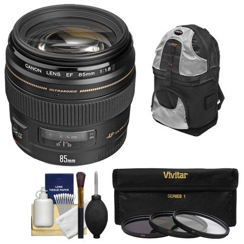 Canon EF 85mm f/1.8 USM Lens with Backpack + 3 UV/CPL/ND8 Filters + Kit for EOS 6D, 70D, 5D Mark II III, Rebel T3, T3i, T4i, T5, T5i, SL1 DSLR Cameras