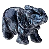 Top Plaza Healing Power Crystal Gemstone Carved Elephant Figurine Statue with Gift Box, 2 Inches (Spectrolite)