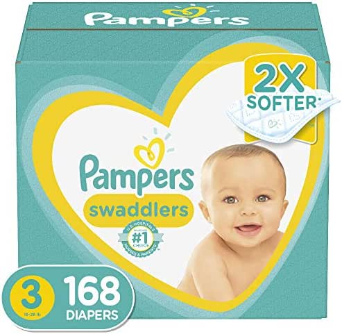 Diapers Size 3, 168 Count - Pampers Swaddlers Disposable Baby Diapers, ONE MONTH SUPPLY