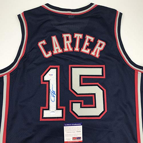 Carter Vince Basketball (Autographed/Signed Vince Carter New Jersey NJ Blue Basketball Jersey PSA/DNA COA)