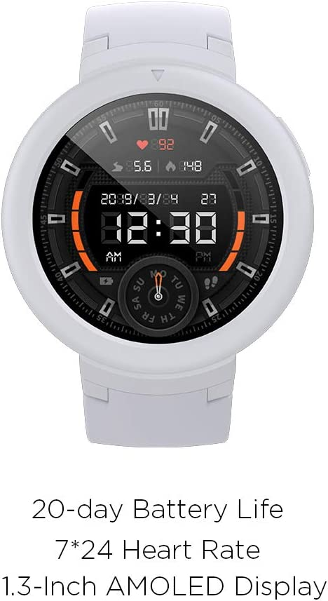 Amazfit Verge Lite Smartwatch by Huami with 20-Day Battery Life,24/7 Heart Rate 1.3 Inch AMOLED Touchscreen IP68 (Moonlight White)
