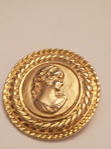 Shiny Round Gold Tone Color Beautiful Women Bust Pin Brooch
