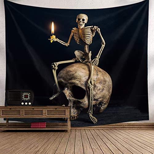 OldPAPA Wall Decor Tapestry, Halloween Skull Festive Atmosphere Wall Hangings keleton Style Home Decor Halloween Decoration Supplies 150x200cm B]()