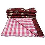 """Burgundy Cotton Crib Size Decorative Bird Pattern Baby Quilt Bedspread India 48"""" x 40"""""""