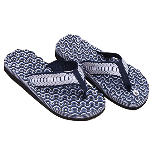 Zomer Mimgo Zachte Toevallige Heren Platte Wig Sandalen Slippers Slippers Strand (blauw)