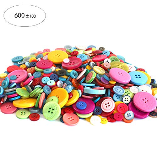 700 Pcs Mixed Color Assorted Sizes 2 and 4 Holes Round Resin Buttons DIY Crafts for Children's Manual Button Painting and Sewing (Mixed Buttons)