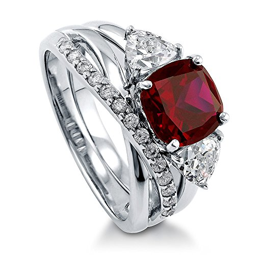 Trillion Ring Accented - BERRICLE Rhodium Plated Sterling Silver Simulated Ruby Cushion Cut Cubic Zirconia CZ 3-Stone Infinity Engagement Wedding Ring Set 4 CTW Size 8