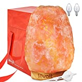 Levoit Large Salt Lamp, Himalayan / Hymilain Sea Pink Crystal Large Salt Rock Lamps, Night Light, Real Rubber Wood Base, Dimmable Touch Switch, Luxury Gift Box(ETL Certified, 2 Extra Original Bulbs)