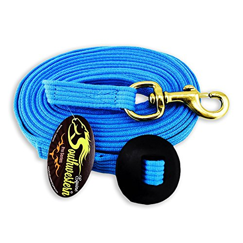 Pessoa Training System (Southwestern Equine 24' Flat Cotton Web Lunge Line with Bolt Snap & Rubber Stop - By (Turquoise, 24'))