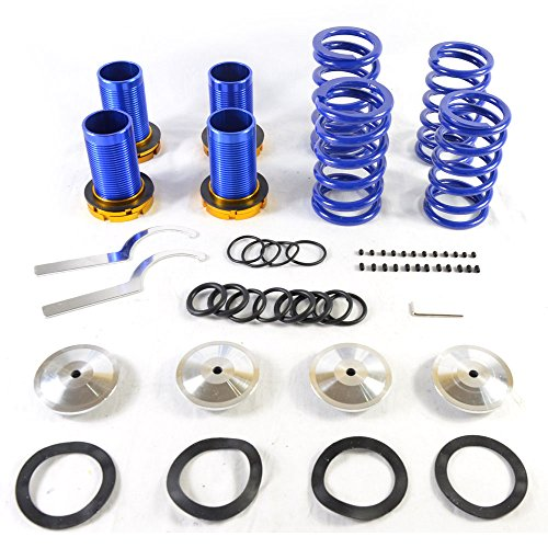 Adjustable Coilover Coil Springs Lowering Suspenion Kit for 1990-2001 Acura Integra | Honda 1988-2000 Civic & 1993-1997 Civic del Sol & 1988-1991 CRX Blue-Blue-Silver
