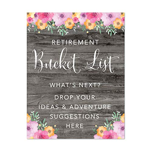 Andaz Press Retirement Party Signs, Rustic Gray Wood Pink Floral Flowers, 8.5x11-inch, Retirement Bucket List, What's Next? Drop Your Ideas and Adventure Suggestions Here, 1-Pack, Unframed]()