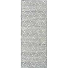 "Ottomanson Jardin Collection Contemporary Trellis Design Indoor/Outdoor Jute Backing Synthetic Sisal Runner Rug, 2'7"" x 7'0"", Grey"