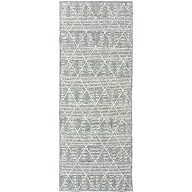 Ottomanson Jardin Collection Contemporary Trellis Design Indoor/Outdoor Jute Backing Synthetic Sisal Runner Rug, 2'7  x 7'0 , Grey