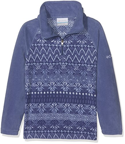 Columbia Big Girls' Glacial II Printed Fleece Half Zip Jacket, Eve Nordic Stripe, Small (Fleece Zip Stripe)