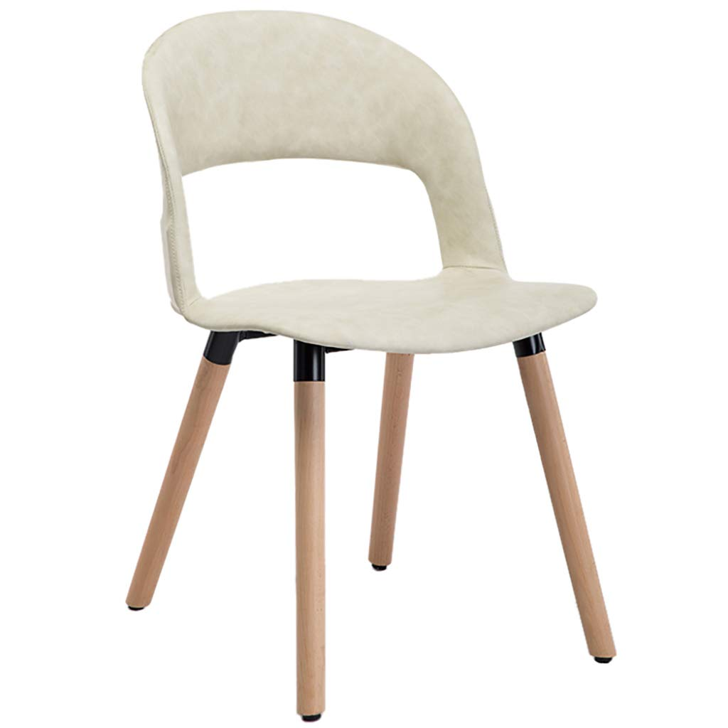 White Nordic Creative Solid Wood Dining Chair, Casual Coffee Chair, Leather Seat Cushion, Ergonomic Design, Strong Load-Bearing Capacity, for Restaurant Office Counter Family