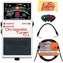 Boss Tu-3 Chromatic Tuner Bundle With Instrument Cable, Patch Cable, Picks, & Austin Bazaar Polishing Cloth