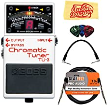 Boss TU-3 Chromatic Tuner Bundle w/ 10' Cable, Patch Cable, Pick Card & Cloth