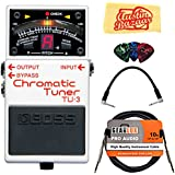 Boss TU-3 Chromatic Tuner Bundle with Instrument Cable, Patch Cable, Picks, and Austin Bazaar Polishing Cloth