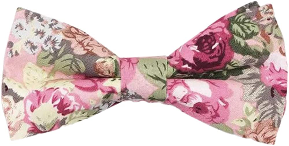 Childrens Kids Boys Pink Floral Elasticated Cotton Bow Tie