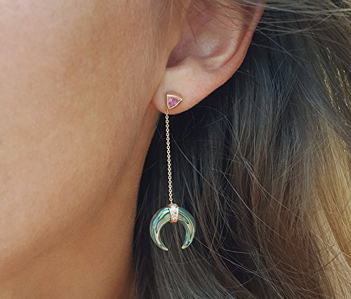- Rose Gold Drop Earrings, Abalone Earrings, Double Horn Earrings, Diamond Drop Earrings, Sapphire Earrings, Delicate Drop Earrings