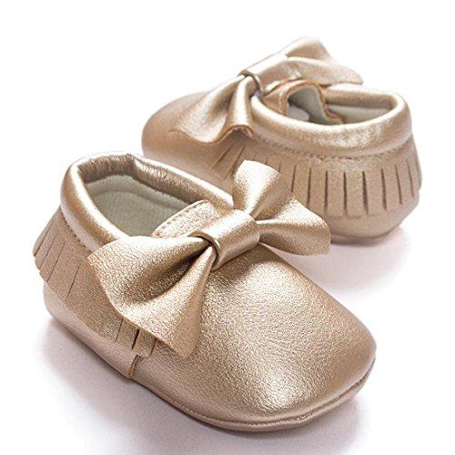 HUHU833 Neugeborene Säuglingsbaby Mädchen Soft Crib Schuhe Kleinkind Schuhe, Troddeln Bowknot Schuhe, Runde Zehe weiche alleinige Anti Rutsch Schuhe (0~18 Month) Gold