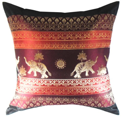 Rare Unique Art Vintage Asian Oriental Thailand Home Decorative Pillowcase Elephant Black Red Color by The Promise Asian Fabric Home Decor (Oriental Asian Fabric)