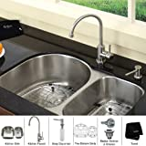 Kraus KBU21-KPF2160-SD20 30' Undermount Double Bowl Stainless Steel Kitchen Sink with Kitchen Faucet and Soap Dispenser