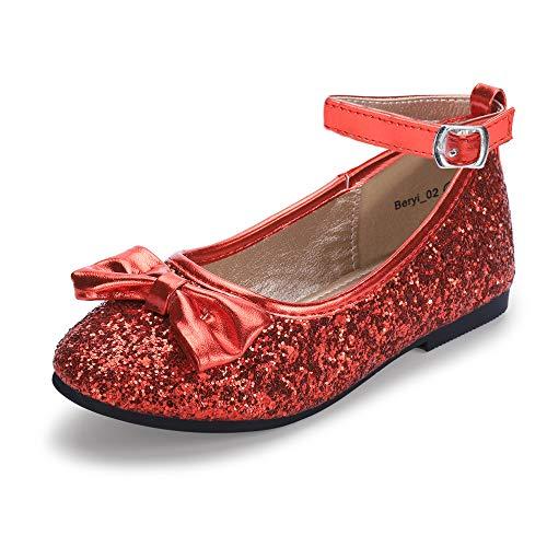 (Hehainom Toddler/Little Kid Girl's Beryl_02 Ballerina Dress Flats Flower Girl Bows Mary Jane Shoes)