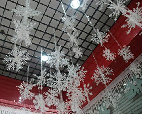 YYaaloa Wall Windows Decor Christmas 3D Plastic Snowflake Hanging Decorations Party Accessory (Pack of 1)]()